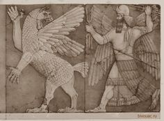 God Marduk fights with the monster Tiamat / Бог Мардук сражается с чудовищем Тиамат.