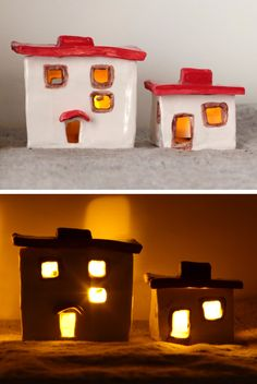 Adobe clay candle holders or lanterns
