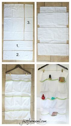 To avoid the mess in the bathroom I made this DIY Organizer made of Towel for . - To avoid the mess in the bathroom I made this DIY Organizer made of Towel to hang behind the door, - Diy Organizer, Diy Organization, Fabric Organizer, Hanging Storage, Diy Hanging, Diy Storage, Porta Shampoo, Diy Bathroom, Organize Fabric