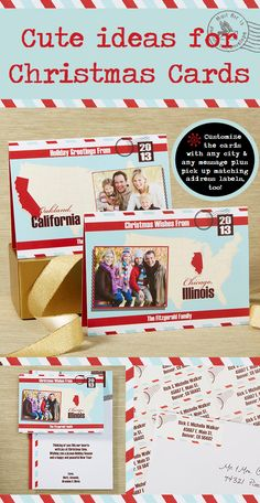 "Cutest. Christmas Cards. EVER. I'm OBSESSED with maps so I HAVE to get these! They're the ""Holiday Greetings From ______"" Christmas Cards that you can personalize with any city and any message on the front and inside of the card! The matching envelope and return address labels are super cute also! This would be a great way for people who just moved to combine their Christmas Cards and Moving announcements too! #Map #Christmas #ChristmasCard #Move #MoveAnnouncement"