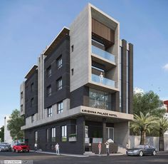 Business building built in modern style and decor, also it has a fantastic view from the top! Conceptual Model Architecture, Hotel Design Architecture, Facade Architecture, Residential Architecture, Building Elevation, Building Exterior, Building Design, Facade Design, Exterior Design