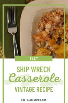 Learn how to make this easy and tasty Ship Wreck casserole recipe for your next lunch or dinner! There wasn't much to go on with this Ship Wreck Casserole recipe, just a few lines in my grandma's 1940 cookbook. Here's how I made it, and yes - the result was delicious! #dinnerrecipes#casserole #beefrecipes Gf Recipes, Lunch Recipes, Gluten Free Recipes, Easy Dinner Recipes, Frugal Meals, Budget Meals, Easy Meals, Ship Wreck, 9x13 Baking Dish