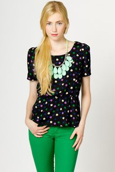 woven peplum top in green/purple (love the necklace too!) - a.thread.com
