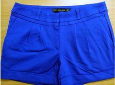 short zara xanh coban