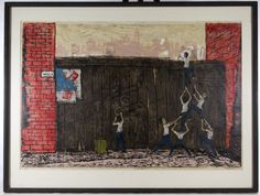 """Lot 331: Fred Rappaport (Austrian / American, 1912-1989) """"Seven Up"""" Woodblock; Undated, pencil signed lower right, numbered 21/24, depicting figures climbing a wall"""