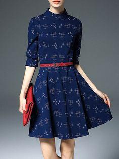 Jacquard Denim Mini Dress Raised neckline