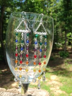 #argentium #sterling #silver #swarovski #crystal #crystals #rainbow #earrings #earring #nickel #free #hypoallergenic #ear #wires #waterfall #chandelier #chevron #cascading #cascade #halftnuki #half #tanuki #etsy Argentium® Sterling Silver Swarovski Crystal Rainbow Earrings NICKEL FREE Hypoallergenic Ear Wires, Waterfall Chandelier Chevron Cascading by HalfTanuki on Etsy