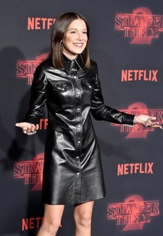 Millie Bobby Brown At The 'Stranger Things Netflix Premiere - 'Stranger Things' Ladies On The Red Carpet - Photos Millie Bobby Brown, Brown Fashion, Leather Fashion, Steampunk Fashion, Gothic Fashion, Lambskin Leather, Leather Jacket, Black Leather, Vinyl Dress