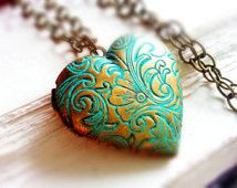 BUY 2 GET Any 1 FREE Patina Heart Locket Statement Necklace Floral Locket Vintage Jewelry Verdigris Locket