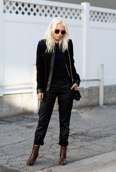98d238e83f4c06 Iro Leather Trim Blazer   Street Style Always Judging