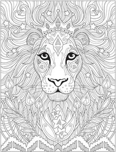 Lion Coloring Pages, Detailed Coloring Pages, Pattern Coloring Pages, Cat Coloring Page, Printable Adult Coloring Pages, Mandala Coloring Pages, Coloring Books, Crochet, Creations