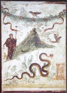 Dionysus on Vesuvius, fresco, Pompeii from Casa del Centenario, before 79 A.D. Museo Archeologico Nazionale, Naples