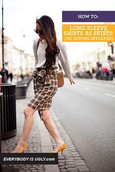 No Sew Skirt from Men's Dress Shirt.....LOVE!!!