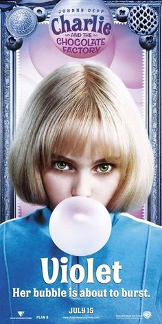 Charlie and the Chocolate Factory: Violet was so much fun obnoxiously chewing gum. Johnny Depp Characters, Johnny Depp Movies, Willy Wonka, Chewing Gum, Charlie Chocolate Factory, Tim Burton Films, Annasophia Robb, The Wedding Date, Roald Dahl