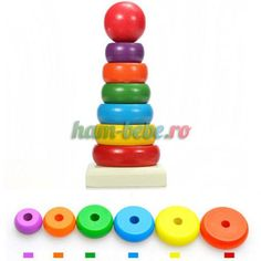 Wooden Stacking Up Nest Rainbow Tower Ring Learning educational Baby Kids Toy Smart Design, Montessori, Wooden Toys, Kids Toys, Baby Kids, Coasters, Christmas Gifts, Tower, Rainbow