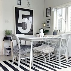 Beautiful monochrome dining room