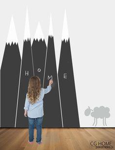 pokój dziecka - naklejki ścienne-tablica skandynawskie GÓRY tablica do pisania