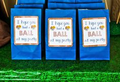 """Hope you had a BALL"" sport theme favor/goodie bags!! Perfect touch for an Allstar event! FREE printables on Melly Moments Blog. Come check them out!!"