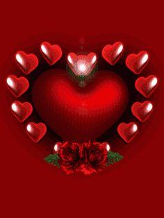 Bonita imagen de corazones animados y rosas rojas