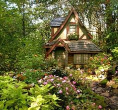 Tudor cottage in woods.