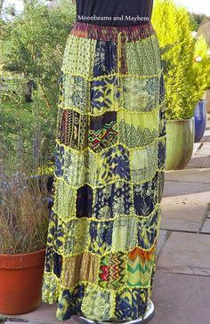 STRIKING SUNSHINE PATCHWORK HIPPIE BOHEMIAN SKIRT UK SIZE 10 12 14 BOHO FESTIVAL