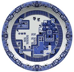 Olly Moss - Zelda Link's Awakening dinner plate - Set of dinnerware based on The Willow Pattern. Would love to have a Pokemon pattern! Pokemon Poster, Pokemon Go, Delft, Chinoiserie, Olly Moss, Blue Willow China, Willow Pattern, Game Themes, Geek Decor