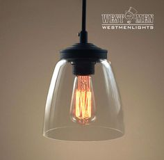 Westmenlights Cloche Glass Hanging Pendant Light Office Edison Round Bar Ceiling Pendant Fixtures CLOCH