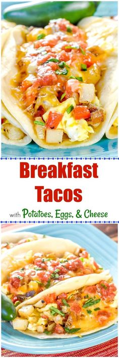 This Breakfast Taco ain't no Taco Bell Breakfast. It's way better! These Breakfast Tacos with Potatoes, Eggs, and Cheese are the real deal, like the ones you find in Austin, Texas! #BreakfastTacos #sundaybreakfast