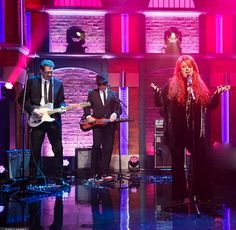 Tommy Hannum playing his Asher Electro Hawaiian Junior lap steel with Wynonna Judd on Late Night with Seth Meyers. Feb. 10, 2016