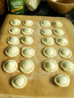 Homemade ravioli filled with Basil Almond Feta in a Creamy Tomato Sauce Homemade Ravioli Filling, Homemade Tomato Sauce, Homemade Pasta, Vegan Ravioli, Vegan Pasta, Valentines Day Food, Almond Recipes, Vegan Foods, How To Cook Pasta