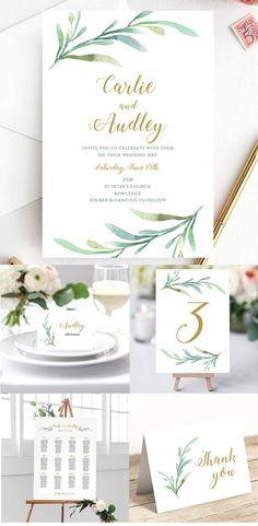 Greenery Wedding Printable Wedding Invitation by Connie and Joan. | Printable Wedding Invitations | Downloadable Wedding Invitations | DIY Wedding Invitations | Etsy Wedding Invitations