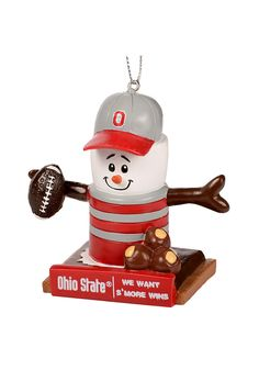 Show your Buckeyes spirit this holiday season with this Ohio State Buckeyes Thematic Smores Ornament. Rally House has a great selection of new and exclusive Ohio State Buckeyes t-shirts, hats, gifts and apparel, in-store and online. Ohio State Wreath, Ohio State Crafts, Ohio State Gear, Snowman Christmas Ornaments, Christmas Decorations, Farmhouse Christmas Decor, Ohio State Buckeyes, Gifts, Scarlet