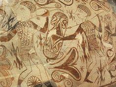 vaso decorado con desfile de guerreros y jinetes