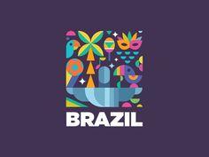 Logo inspiration: Brazil design made by Hire quality logo and branding designers at Twine. Twine can help you get a logo, logo design, logo designer, graphic design, graphic designe - 滿-ILLUSTRATION/小圖標 - City Branding, Logo Branding, Branding Design, Logo Inspiration, Brazil Logo, Brazil Brazil, City Logo, Event Logo, Emblem