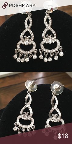 Customs Rhinestones Earrings Rhinestone earrings perfect condition used Once for a Wedding . no issues No missing stones Great  to use on special  events smoke free home. Accessories