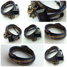 Matte gold and navy leather wrap bracelet.