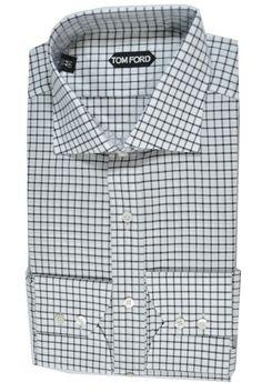 Tom Ford Dress Shirt White Black Grid Men
