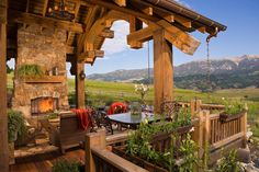 Grandiose, 2-Story, Natural Stone Fireplace on Spacious Patio overlooking Bozeman, MT [2000 × 1334] - Modern and Vintage Cabin Decorating Ideas, Small Cabin Designs, Cabins Interior and Decor Inspiration