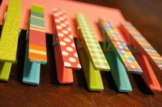 Clothespin Magnets - made with acrylic craft paints, magnet strips, decorative paper