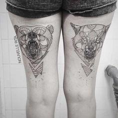 Les tatouages géométriques de l'artiste portugaise Nouvelle Rita, basée à…