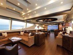Mega Yacht Interior With Hardwood Floor Private Jet Interior, Luxury Yacht Interior, Boat Interior, Home Interior Design, Photographie New York, Best Yachts, Private Yacht, Luxury Kitchen Design, Yacht Boat