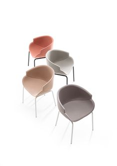 Small #armchair with distinctive lines, characterized by a sharp and sinuous groove in the frame, which forms two half shells. The seat is soft and inviting, with an enveloping profile and an ample backrest. Fully upholstered in fabric or hide, it's available with legs in natural beech, in metal, or the swivelling version with a chromium-plated metal spoke base. #interiors #interiordesign #moderndesign #interiordecor #decorator #architect #chair #loungechair