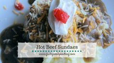 Hot Beef Sundaes are a Drieling family favorite! Hot Beef Sundaes are a play on the popular dessert Hot Fudge Sundaes.Instead of ice cream, fudge sauce, sprinkles, whipped cream and a cherry on top – you have mashed potatoes, beefy brown gravy, shredded cheese, sour cream and a cherry tomato on top. I was introducedContinue Reading