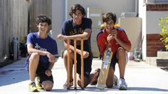 The Agar brothers in 2010: Ashton Agar, then 16, centre, with his brothers Will, then 14, (left) and Wesley, 13, in the driveway of their Melbourne home, where they play cricket. Picture: Hilton Stone Source: News Limited