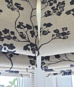 Dining room bay window roman blinds in Ian Mankin Kew Nordic Charcoal by Raspberrylime Bespoke Roman Blinds
