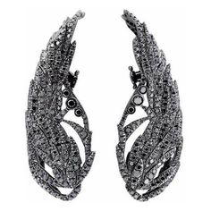 Runa Jewelry Wings Night Black Diamond Earrings (80.925 NOK) ❤ liked on Polyvore featuring jewelry, earrings, accessories, black, black gold, black diamond jewellery, wing earrings, black diamond earrings, sparkle jewelry and sparkling jewellery