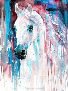 White horse watercolor painting print by Slaveika Aladjova - Haus 361 - Horse Canvas Painting, Painting & Drawing, Painting Prints, Canvas Art, White Horse Painting, Watercolor Horse, Watercolor Animals, Watercolor Paintings, Pastel Paintings