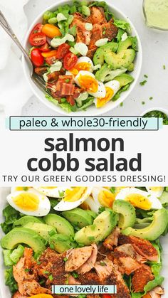 Blackened Salmon Cobb Salad - This salmon Cobb salad full of colorful veggies and finished with a creamy avocado green goddess dressing we can't get enough of! (Paleo, Whole30-Friendly) // Salmon Salad // Blackened Salmon Recipe // Salmon Cobb Recipe // Healthy Dinner #paleo #whole30 #cobbsalad #greengoddess Salmon Salad, Cobb Salad, Healthy Side Dishes, Side Dish Recipes, Healthy Salad Recipes, Lunch Recipes, Meal Ideas, Dinner Ideas, Goddess Dressing Recipe
