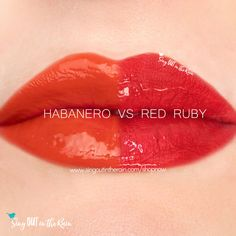Compare Habanero vs. Red Ruby LipSense using this photo. Habanero is part of the Fiesta LipSense Collection by SeneGence.