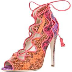 Brian Atwood Kayla Lace Up Bootie in Snake Multi ($1,395) ❤ liked on Polyvore